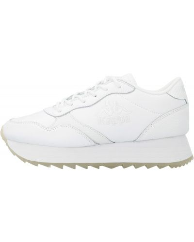 Спортивные белые кроссовки на шнуровке из натуральной кожи Kappa