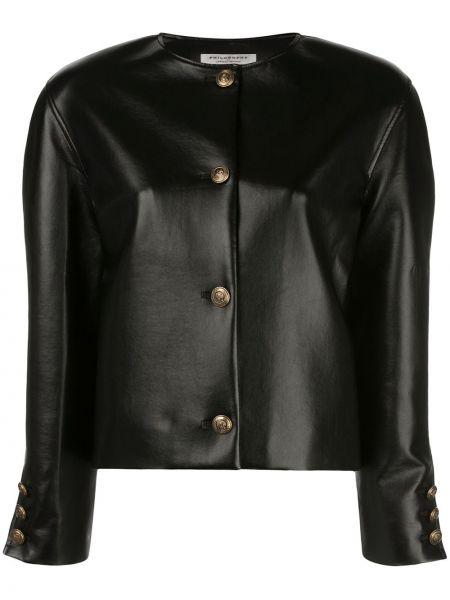 С рукавами черная кожаная длинная куртка Philosophy Di Lorenzo Serafini