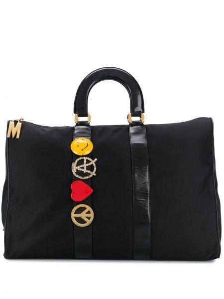 Черная сумка-тоут на молнии с подвесками с карманами Moschino Pre-owned