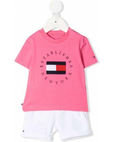 Różowy dres bawełniany z haftem Tommy Hilfiger Junior