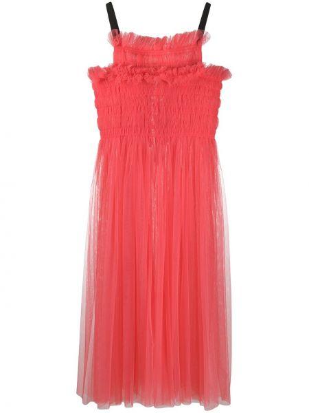 Платье миди розовое расклешенное Molly Goddard