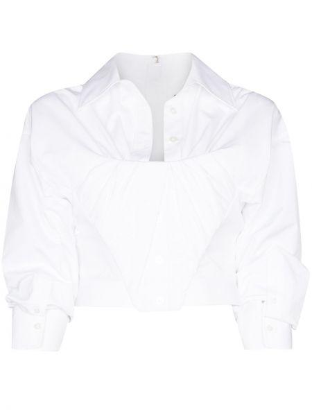 Bawełna z rękawami biały koszula z kołnierzem Alexander Wang