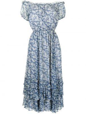Платье мини в цветочный принт - синее Polo Ralph Lauren