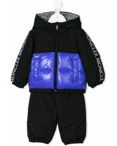 Спортивный костюм черный эластичный Moncler Kids