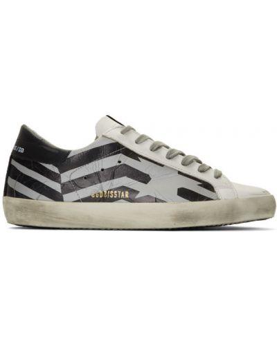 Czarny włókienniczy skórzane sneakersy perforowany na sznurowadłach Golden Goose