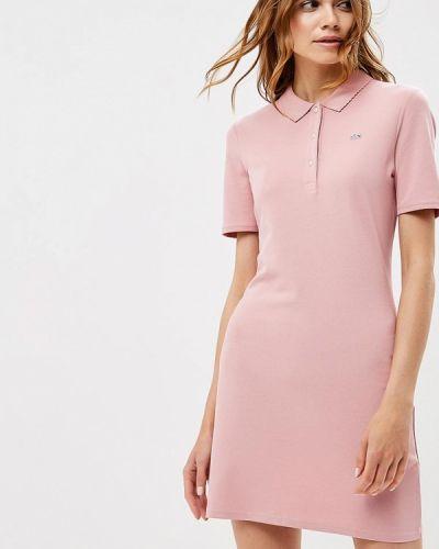 Розовое платье весеннее Lacoste