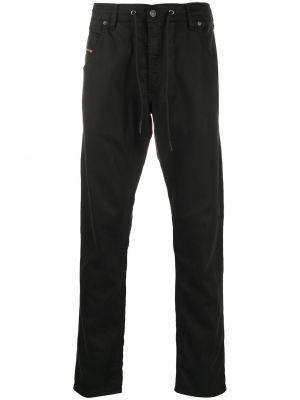 Хлопковые черные джинсы с карманами с вышивкой Diesel