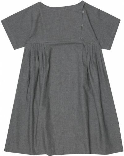 Ватное хлопковое серое платье свободного кроя Bonpoint