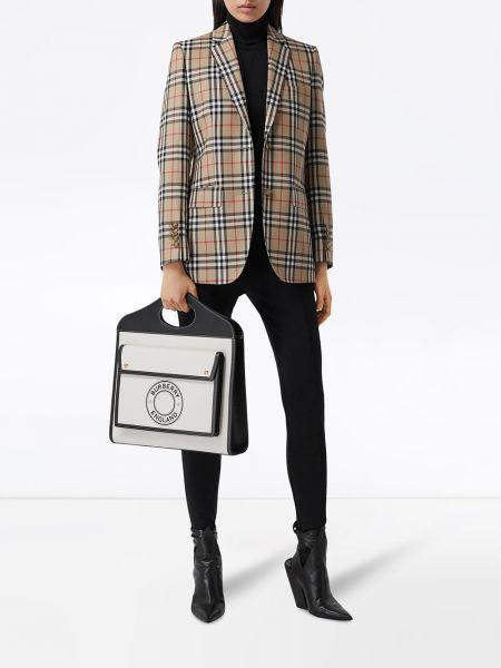 Шерстяной бежевый пиджак винтажный Burberry