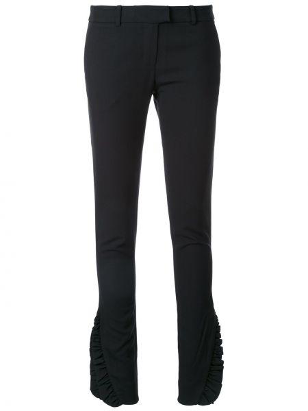 Шерстяные черные брюки с оборками Thomas Wylde