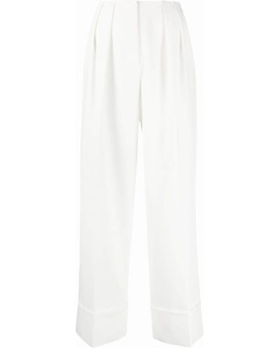 Белые укороченные брюки свободного кроя с потайной застежкой Sara Battaglia