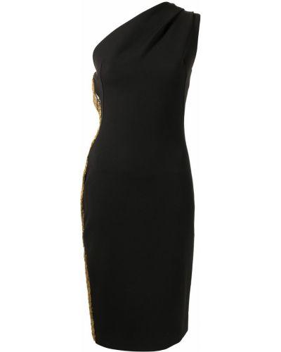 Хлопковое черное платье на одно плечо Haney