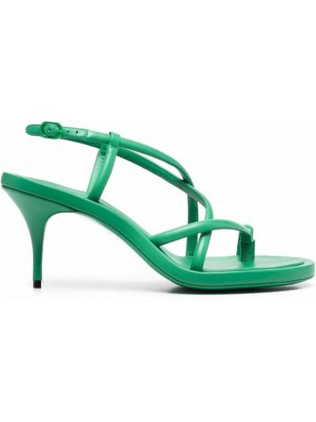Sandały skórzane na obcasie - zielone Alexander Mcqueen