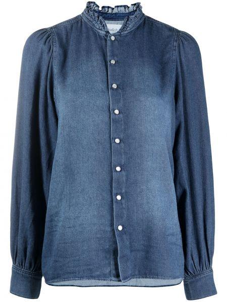 С рукавами ватная синяя джинсовая рубашка с воротником Ba&sh
