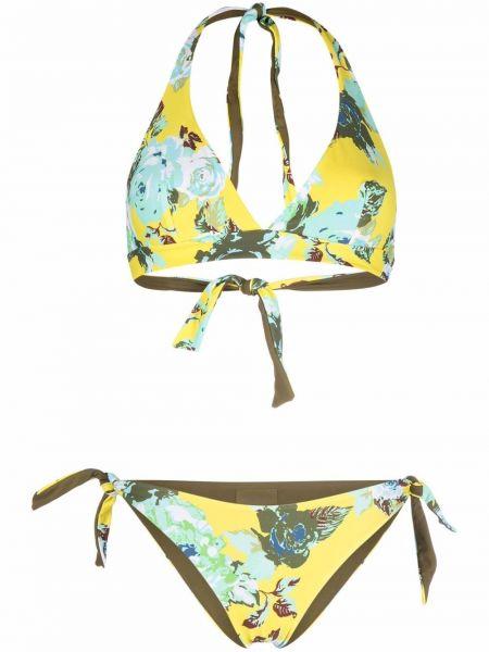 Żółty bikini z printem z dekoltem w serek Fisico