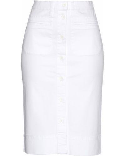 Белая джинсовая юбка с карманами на пуговицах Bonprix