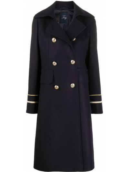 Синее шерстяное пальто классическое с воротником двубортное Fay