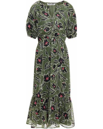 Зеленое платье миди с люрексом с подкладкой Walter Baker