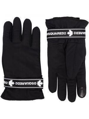 Z paskiem czarny rękawiczki z mankietami z siatką Dsquared2