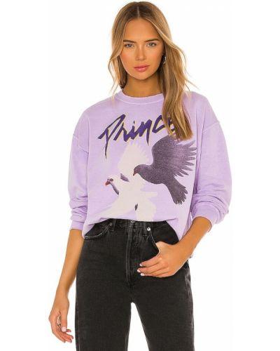 Fioletowa bluza bawełniana z printem Madeworn