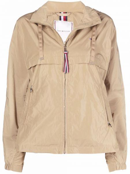 Бежевая куртка с капюшоном классическая с вышивкой Tommy Hilfiger