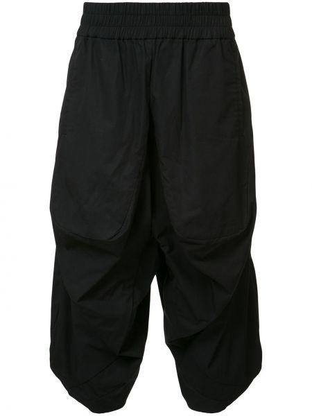 Хлопковые черные укороченные брюки пэчворк Private Stock