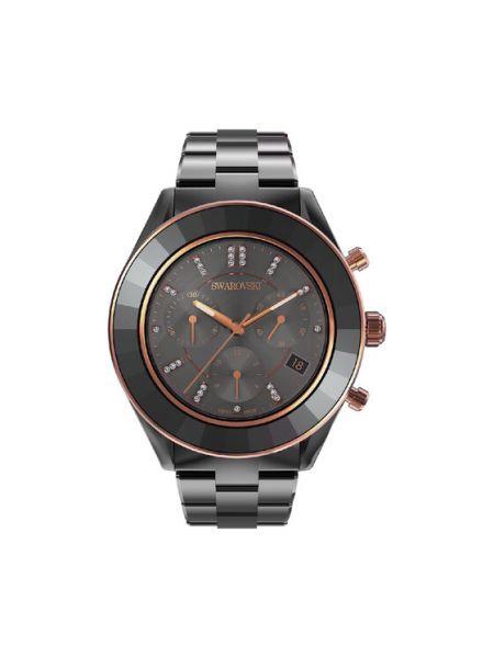Czarny zegarek sportowy Swarovski
