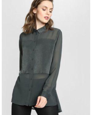Блузка с длинным рукавом классическая сатиновая Ostin