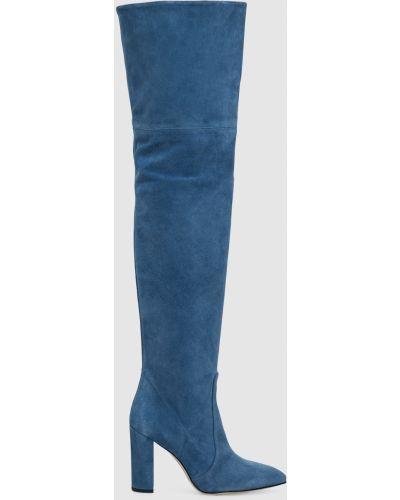 Синие замшевые ботфорты Paris Texas