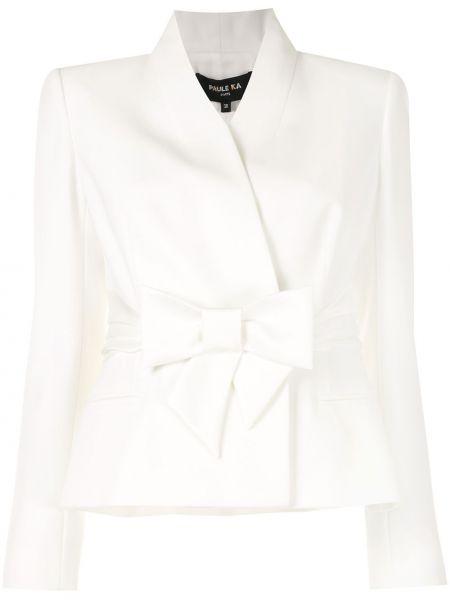 Белый удлиненный пиджак с вырезом с поясом с запахом Paule Ka