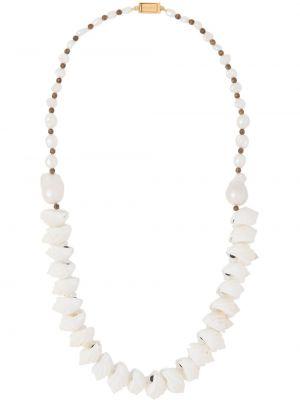 Naszyjnik z perłami biały zielony Prada