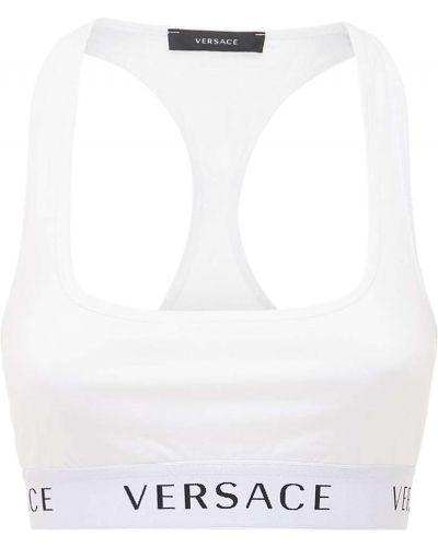 Хлопковый белый топ на резинке Versace