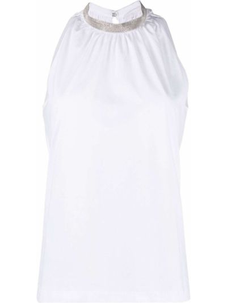 Прямая льняная белая блузка Fabiana Filippi