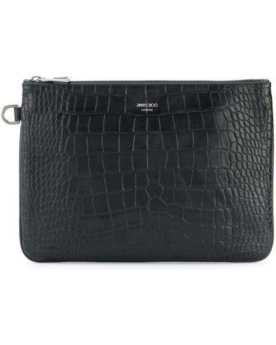 Czarny torba sprzęgło od krokodyla Jimmy Choo