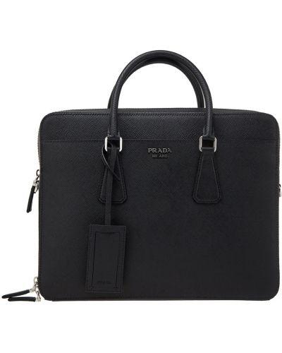 Кожаная сумка на молнии с отделениями Prada