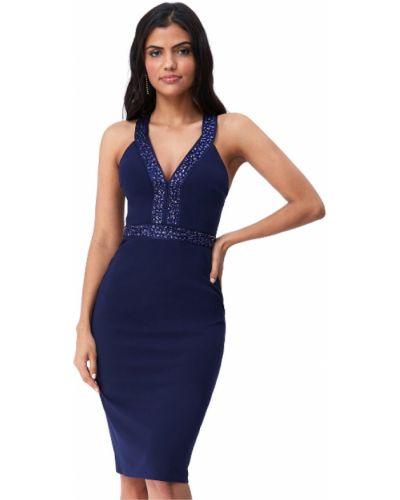 Синее коктейльное платье с открытыми плечами с камнями Goddiva