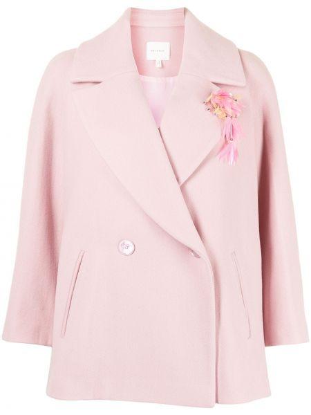 Розовый шерстяной удлиненный пиджак двубортный Delpozo