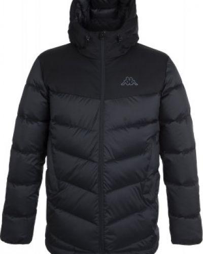 Теплая прямая черная куртка с капюшоном на молнии Kappa