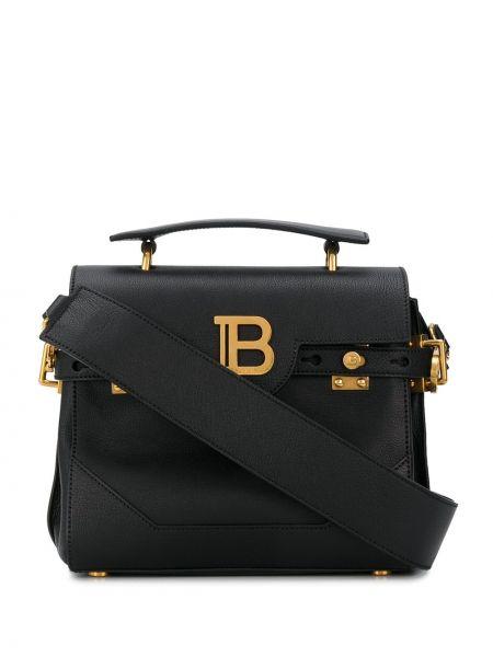 Золотистая черная сумка-тоут на молнии с карманами Balmain