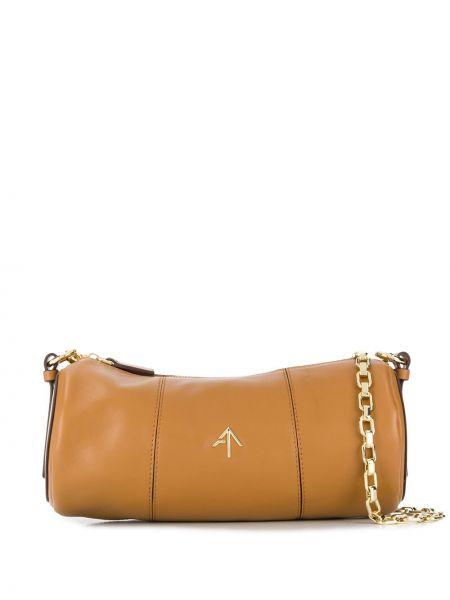 Коричневая сумка на цепочке металлическая на молнии с карманами Manu Atelier