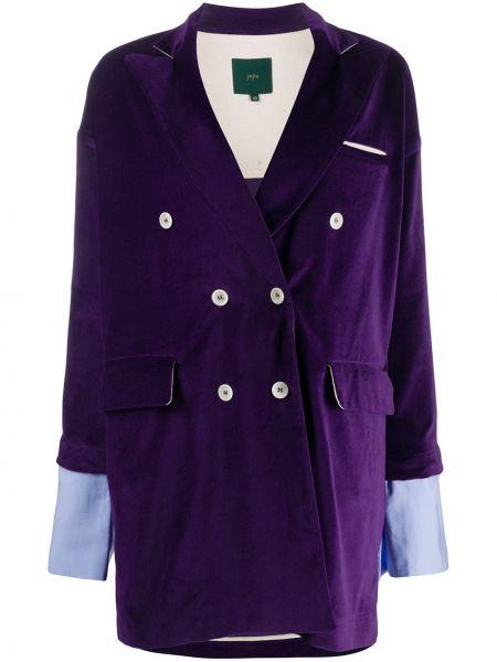 Бархатный классический пиджак двубортный с карманами Jejia