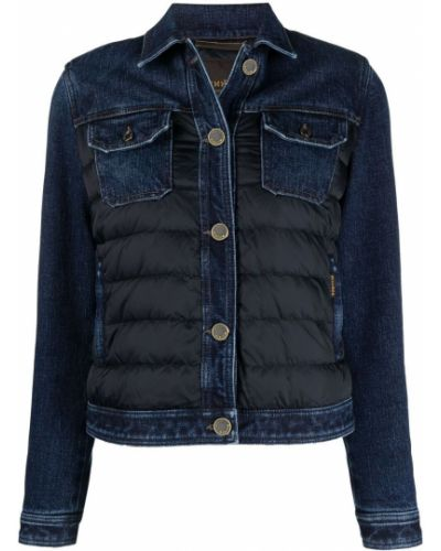 Синяя стеганая джинсовая куртка с воротником Moorer