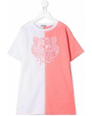 Różowa sukienka mini krótki rękaw z haftem Kenzo Kids