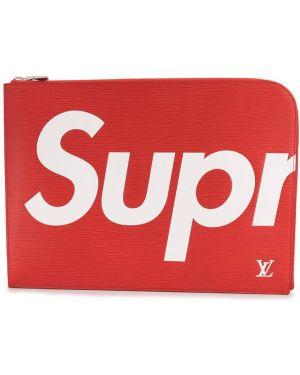 Красный кожаный клатч на молнии с карманами Louis Vuitton