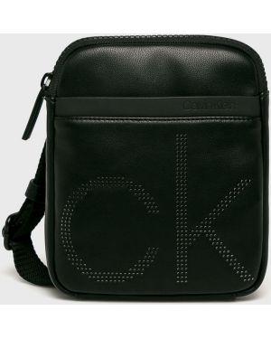 Кожаная сумка через плечо - черная Calvin Klein