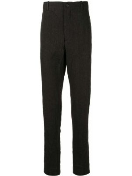 Черные деловые прямые брюки с поясом на пуговицах Forme D'expression