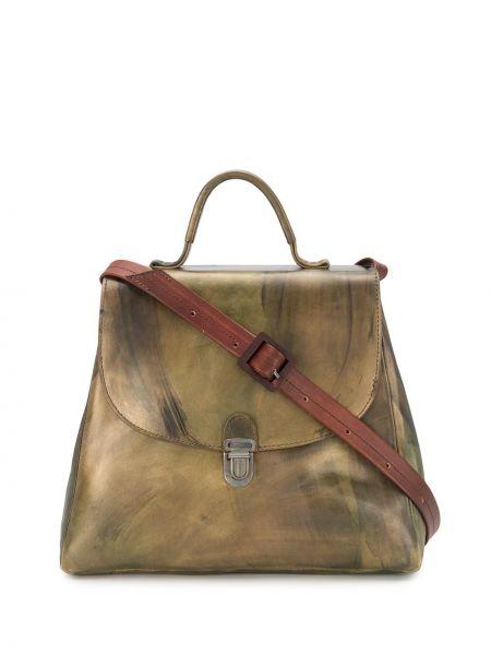 Кожаная коричневая сумка-тоут круглая Cherevichkiotvichki