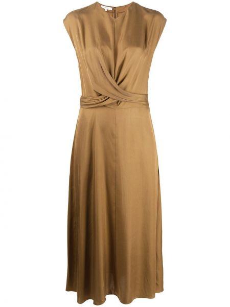 Шелковое платье с V-образным вырезом Vince.