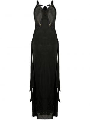 Шелковое черное платье миди без рукавов Bordelle