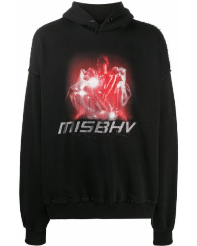 Bawełna czarny bluza z kapturem z kapturem z długimi rękawami Misbhv